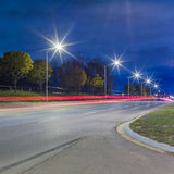 Light trails at night Stock Images