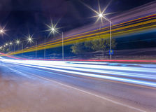Light trails at night. Road traffic and light trails at night Royalty Free Stock Photos
