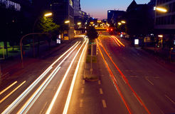 Light trails of night traffic in modern city Royalty Free Stock Images