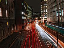 Traffic in London at night stock photography