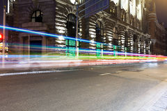 Light trails on old building Royalty Free Stock Images