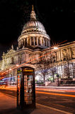 Light trails outside St Pauls Royalty Free Stock Photo