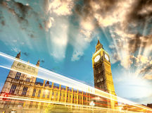 Light trails over Westminster Bridge, London Royalty Free Stock Images
