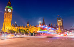 Light trails over Westminster, London Stock Photography