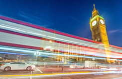 Light trails over Westminster, London Royalty Free Stock Photo