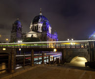 Light Trails Passing the Berliner Dom Stock Photography