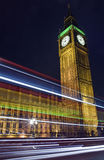 Light Trails Passing the Houses of Parliament Royalty Free Stock Photos