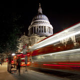 Light Trails Passing St. Paul's Cathedral Stock Photo