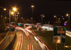 Light trails on ring road, Wolverhampton Stock Photos