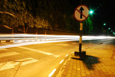 The light trails on the road Royalty Free Stock Photo