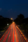 Light Trails on the Road. Speedy Car's Light Trails on the Road at Twilight Time Royalty Free Stock Photography