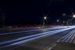 Light Trails on the Road. Speedy Car's Light Trails on the Road at Twilight Time Royalty Free Stock Photo
