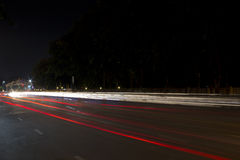Light Trails on the Road. Speedy Car's Light Trails on the Road at Twilight Time Stock Images