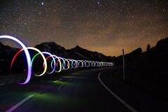 Light trails on road Royalty Free Stock Photography