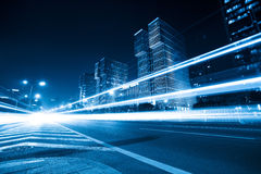 Light trails on the road with blue tone Royalty Free Stock Images
