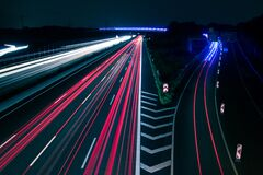 Light Trails on Road at Night royalty free stock photo