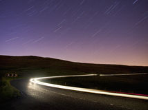 Light trails on rural road, cat and fiddle Royalty Free Stock Photography