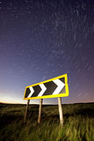 Light trails on a rural road, cat and fiddle Stock Photos