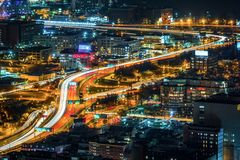 Light trails during rush hour Stock Images