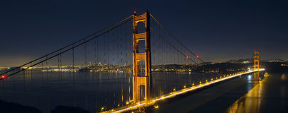 Light Trails on San Francisco Golden Gate Bridge Stock Photos