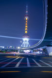 Light trails at shanghai finance distric,Lujiazui Stock Images