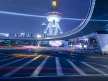 Light trails at shanghai finance distric,Lujiazui Royalty Free Stock Photo