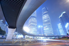 Light trails at shanghai finance distric,Lujiazui Stock Photography