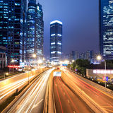 Light trails on shanghai financial center at night Royalty Free Stock Photos
