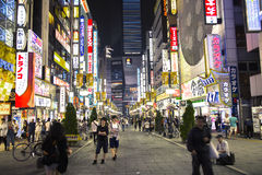 Light trails in Shinjuku at night Royalty Free Stock Photo