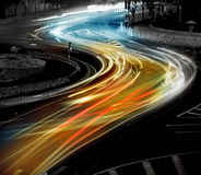 The light trails on the steet Royalty Free Stock Photos