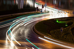 Light trails on the steet Royalty Free Stock Images