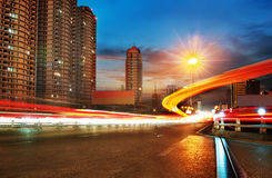 Light trails on the steet in shanghai china Stock Image