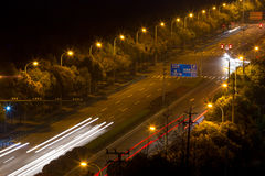 The light trails on the steet in shanghai Stock Photography