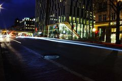 Light trails in Stockholm. Lovely light trails in sweden& x27;s heart Royalty Free Stock Images