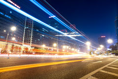 Light trails on the street in beijing Royalty Free Stock Image