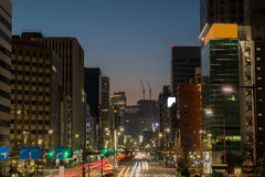 Light trails on the street at dusk in sakae,nagoya city. Light trails on the street at dusk in sakae,nagoya city - japan Stock Photo