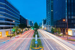 Light trails on the street at dusk in sakae,nagoya  japan. Light trails on the street at dusk in sakae,nagoya city - japan Stock Photos