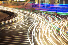 Light trails on the street Stock Image
