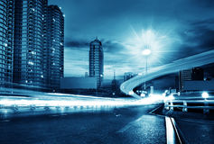 Light trails on the street Royalty Free Stock Image