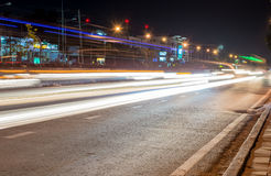 The light trails on the street Stock Image