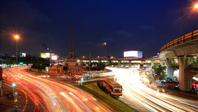 light trails on street at Victory Monument Stock Photos