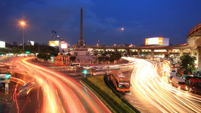 light trails on street at Victory Monument Royalty Free Stock Photo