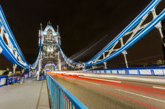 Light trails on Tower Bridge, London Stock Images