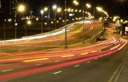 Light trails of traffic on road stock images