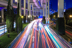 Light trails under the elevated road Royalty Free Stock Images