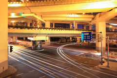 Light trails under the viaduct Stock Photography