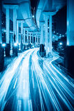 Light trails under the viaduct Stock Image
