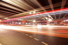 Light trails under the viaduct bridge Royalty Free Stock Photo