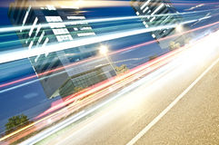 Light Trails in Urban Context, Brescia, Italy Royalty Free Stock Images