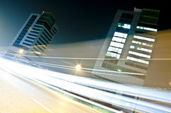 Light Trails in Urban Context, Brescia, Italy. Light trails in the financial district of Brescia city Stock Photography